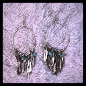 Silver and turquoise feather earrings